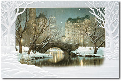 Twilight in Central Park (25 cards & envelopes) Personalized Recycled Business Boxed Holiday Cards
