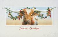 Holiday Longhorn (25 cards & envelopes) Personalized Funny Business Boxed Christmas Cards