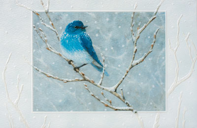 Bluebird (25 cards & envelopes) Personalized Recycled Business Boxed Christmas Cards