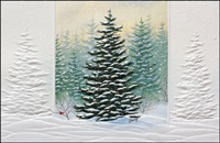Frosted Evergreens (25 cards & envelopes) - Boxed Holiday Cards