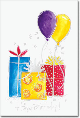 Presents & Balloons (25 cards & envelopes) Personalized Business Boxed Birthday Cards
