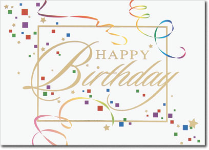 Happy Birthday Confetti (25 cards & envelopes) Personalized Business Boxed Birthday Cards