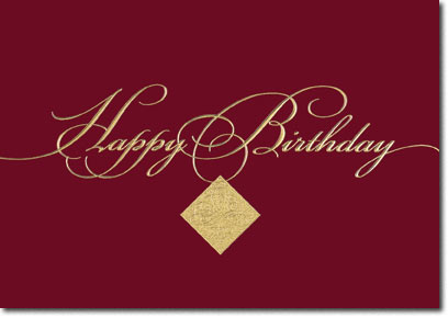 Happy Birthday Golden Seal (25 cards & envelopes) Personalized Business Boxed Birthday Cards