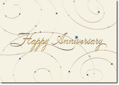 Anniversary Stars & Swirls (25 cards & envelopes) Personalized Business Boxed Anniversary Cards
