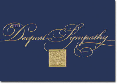 Gold Sympathy on Blue (25 cards & envelopes) Personalized Business Boxed Sympathy Cards