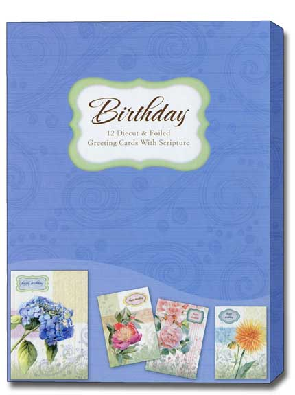 Floral Rapture Box Of 12 Assorted Christian Birthday Cards