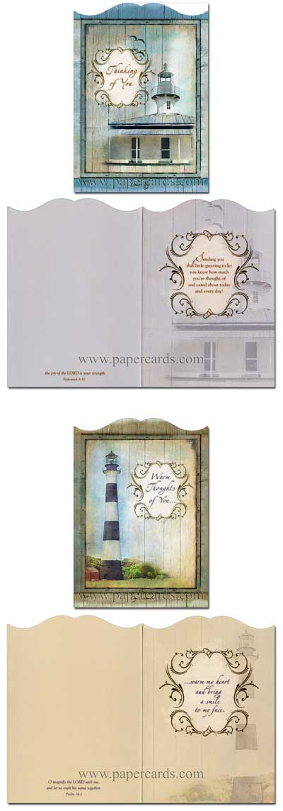 Beacon of Faith (12 Thinking of You Cards with envelopes) Premium Diecut Assorted Boxed Scriptured Thinking on You Cards