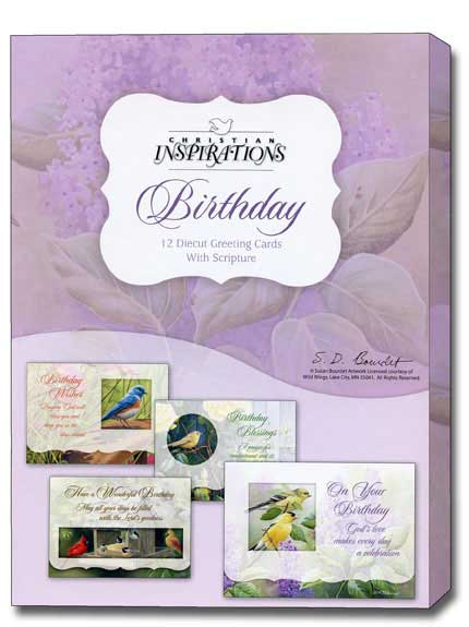 A Cheerful Song Box Of 12 Diecut Assorted Christian Birthday Cards