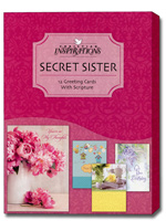 Secret Sister (12 All Occasion Cards with envelopes) - Boxed Scriptured Secret Sister All Occasion Cards - FRONT: Various  INSIDE: Various