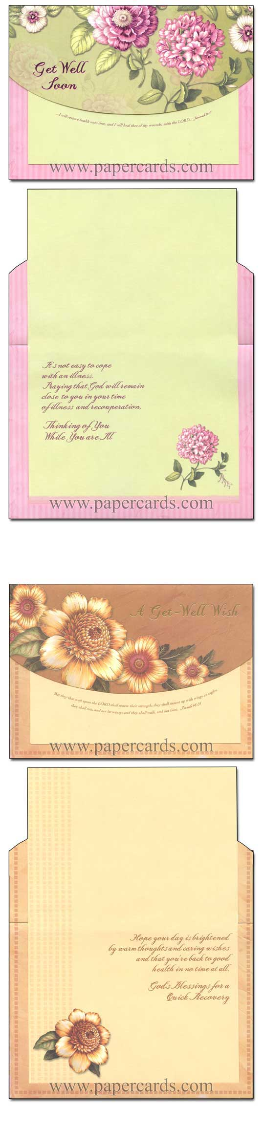 Floral Rapture Box Of 12 Assorted Christian Get Well Cards By
