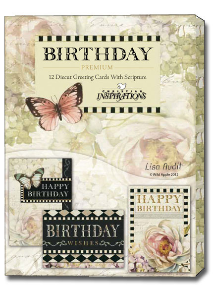 Floral Rapture Box of 12 Premium Diecut Assorted Christian – Boxed Birthday Card Assortment