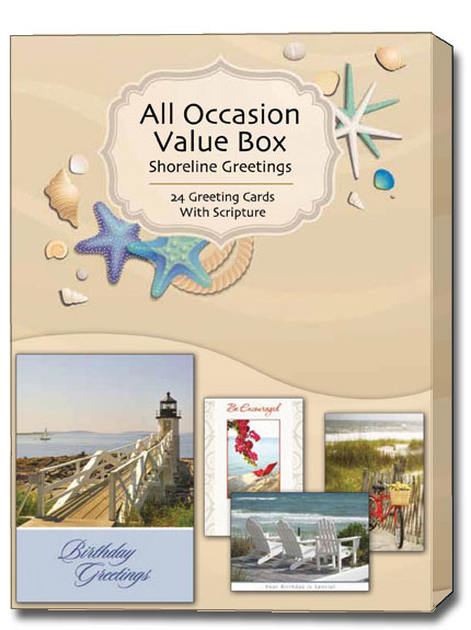 shoreline greetings all occasion assorted box of 24