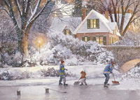 Shoveling Ice (1 card/1 envelope) - Christmas Card  INSIDE: Warm wishes for holidays filled with the wonder of the season