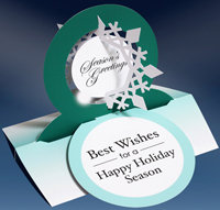 Snowflake Die Cut 3D Stand Up (15 cards/15 envelopes) - Packaged Holiday Cards - FRONT: Best Wishes for a Happy Holiday Season  INSIDE: Season's Greetings - Happy New Year