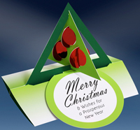 Green Tree Red Ornaments Die Cut 3D Stand Up (15 cards/15 envelopes) - Packaged Christmas Cards  INSIDE: Merry Christmas & Wishes for a Prosperous New Year