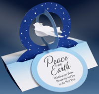 Dove in Blue Rings Die Cut 3D Stand Up (15 cards/15 envelopes) - Packaged Christmas Cards  INSIDE: Peach on Earth - Wishing you Peace, Prosperity and Joy in the New Year