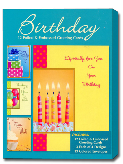 Birthday Assortment Box Of 12 Foiled Embossed Cards