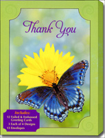 Thank You Assortment (12 Thank You Cards/13 Envelopes) Foiled & Embossed Assorted Boxed Thank You Cards