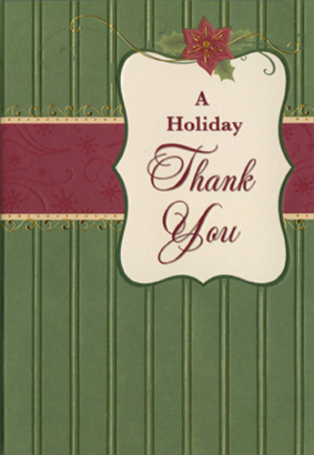 Green Wallpaper Christmas Thank You Note Cards 8 Pack By Designer