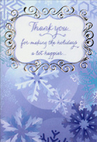 Blue Snowflakes Thank You Notes (8 cards/8 envelopes) Designer Greetings Christmas Thank You Notes