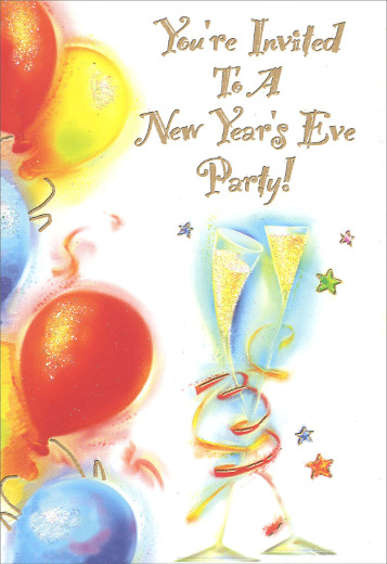 balloons new year party invitations 8 invites8 envelopes