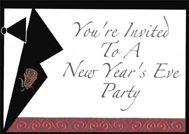 red rose new year party invitations 8 invites8 envelopes by designer greetings
