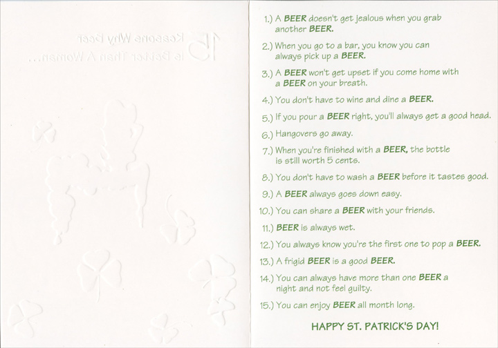 Beer is better funny st patricks day card by designer greetings inside m4hsunfo