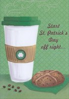 Steaming Coffee (1 card/1 envelope) Designer Greetings St. Patrick's Day Card