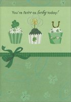 Three Green Cupcakes (1 card/1 envelope) Designer Greetings St. Patrick's Day Card