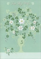 White Flowers & Shamrocks in Green Vase (1 card/1 envelope) Designer Greetings St. Patrick's Day Card