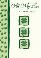 3 Embossed Four Leaf Clovers: All My Love (1 card/1 envelope) Designer Greetings St. Patrick's Day Card