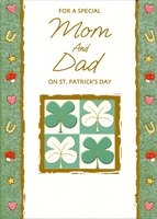 Lucky Icons and Shamrock Window: Mom & Dad (1 card/1 envelope) - St. Patrick's Day Card - FRONT: For a Special Mom and Dad on St. Patrick's Day  INSIDE: Wishing you lots of happiness and luck-the-Irish kind! For a Mom and Dad as nice as you are just a wee bit hard to find, And on a day as fine as this, a pity it would be, Not to share the warmth of it with you especially!  Happy St. Patrick's Day