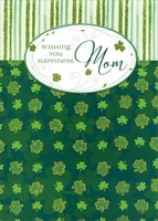 Glitter Shamrocks & Stripes: Mom (1 card/1 envelope) Designer Greetings St. Patrick's Day Card