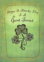 3 Shamrocks with Hearts: Great Friend (1 card/1 envelope) Designer Greetings St. Patrick's Day Card
