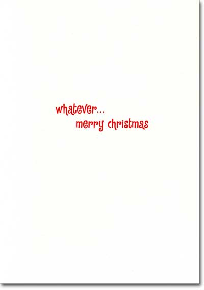 Bulldog with Red Nose and Antlers (1 card/1 envelope) - Christmas Card  INSIDE: whatever� merry christmas