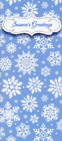 White Snowflakes on Blue (1 card/1 envelope) - Christmas Money & Gift Card Holder - FRONT: Season's Greetings  INSIDE: Wishing you peace and joy this season and always.