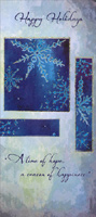 Snowflakes on Blue and Gray (1 card/1 envelope) - Christmas Money & Gift Card Holder - FRONT: Happy Holidays - A time of hope, a season of happiness.  INSIDE: Hoping all the joys of the season find a place within your heart to stay throughout the New Year. Enjoy the Holidays