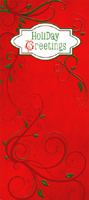 Red Holiday Greetings and Vines Christmas Money & Gift Card Holder