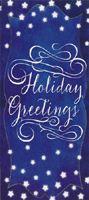 White Script on Dark Blue (1 card/1 envelope) - Christmas Money & Gift Card Holder - FRONT: Holiday Greetings  INSIDE: May each day and every night of the season shine with all the happiness being wished for you! Enjoy the Holiday
