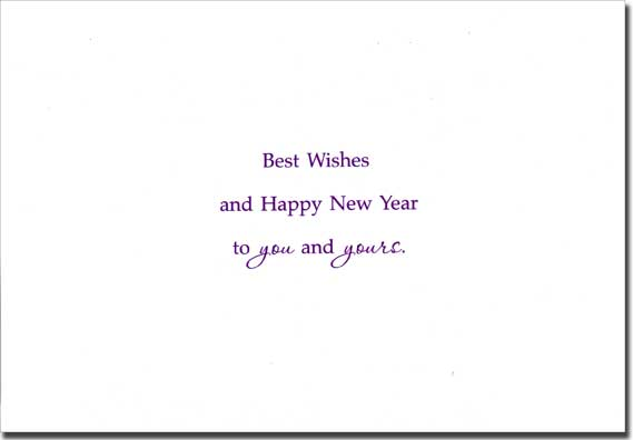 additional info silver foil swirls and an embossed silver foil frame combine with the deep purple background to create this classy new year card design