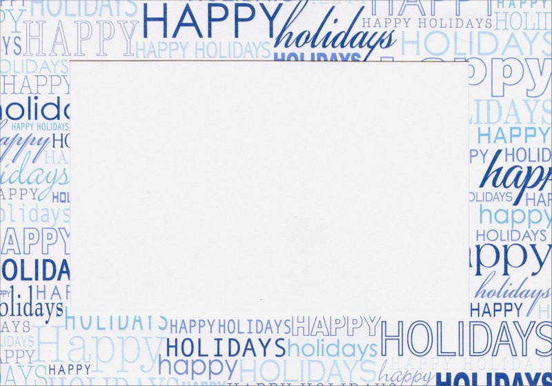 Blue Happy Holidays Photo Holders (18 cards/18 envelopes) Designer Greetings Boxed Holiday Cards - FRONT: Happy Holidays  INSIDE: Best Wishes for the Holiday Season!