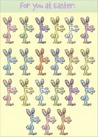 Rows of Colorful Rabbits (1 card/1 envelope) Designer Greetings Funny Easter Card