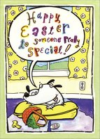 Dog on Pillow (1 card/1 envelope) Designer Greetings Funny Easter Card
