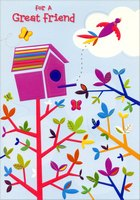 Colorful Birdhouse: Friend (1 card/1 envelope) Designer Greetings Friendship Easter Card