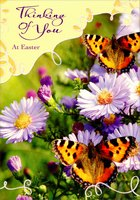 Two Butterflies on Flowers (1 card/1 envelope) Designer Greetings Thinking of You Easter Card