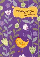 Chick in Flower Bed (1 card/1 envelope) Designer Greetings Thinking of You Easter Card