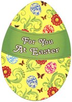 Die Cut Yellow Egg (1 card/1 envelope) Designer Greetings Easter Card