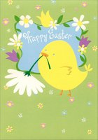 Chick Carrying White Flower (1 card/1 envelope) Designer Greetings Easter Card