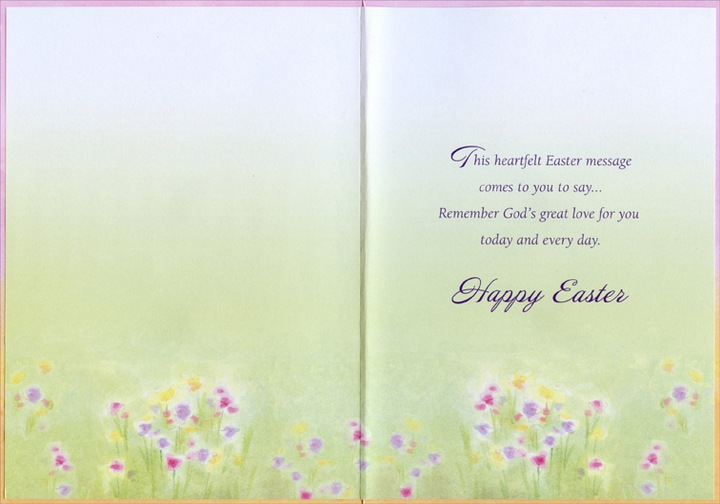 Pastel meadow designer greetings religious easter card by designer greeting cards shipped using usps first class package are normally shipped in a white or kraft non bendable mailer and cards shipped via usps priority mail m4hsunfo