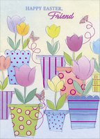 Flowerpots on Shimmering Paper: Friend (1 card/1 envelope) Designer Greetings Friendship Easter Card
